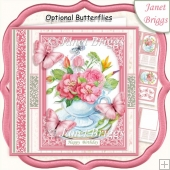 PINK FLORAL TEACUP 7.5 All Occasions Quick Card & Insert Kit