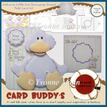 Welcome Little One Decoupage Shaped Fold Card Kit