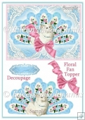 Cottage Chic Floral Fan Kitty Topper with Decoupage