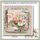 Vintage Rose Spray On Layered Panel Card Front