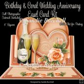 Birthday & Coral Wedding Anniversary 8 x 8 Easel Card Kit