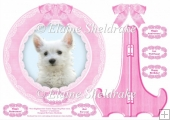 West Highland Terrier Girl Puppy Dog Plate Card & Plate Stand