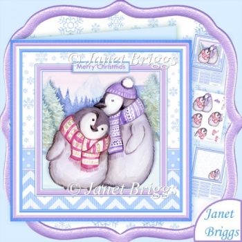 Penguin Love Christmas 8x8 Decoupage & Insert Kit