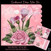 Pink Floral And Butterfly Mini Scalloped Edge Kit