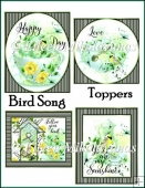 Bird Song Set of 4 Spring Tea Toppers