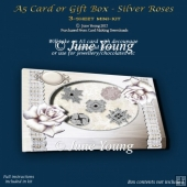 A5 Card or Gift Box - Silver Roses