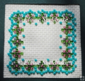 Aqua Floral Beaded Frame or Fridge Magnet Pattern Chart