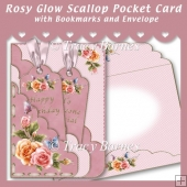 Rosy Glow Scallop Pocket Card with Bookmarks & Envelope