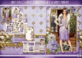 Art Deco Lady Lily Christmas 4 Sheet mini Kit Lilac