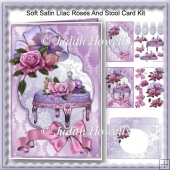 Soft Satin Lilac Roses And Stool Card Kit