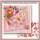 Butterfly And Colourful Roses Square Card Front