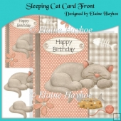Sleeping Cat Card Front with Decoupage