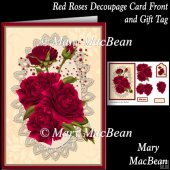 Red Roses Decoupage Card Front and Gift Tag