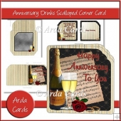 Anniversary Drinks Scalloped Corner Card