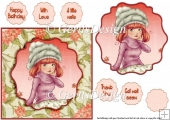 Autumn feeling young girl 6 inch card topper 116