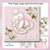 Pink Puppy Large Card Front And Insert