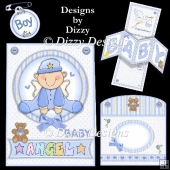 Baby Boy Twisted Panel Pop Out Card