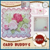Shabby Chic Roses Scalloped Fold Card Kit