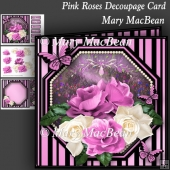 Pink Roses Decoupage Card