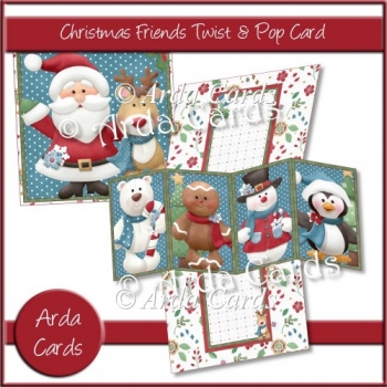 Christmas Friends Twist & Pop Card