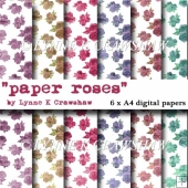 PAPER ROSES - 6 X A4 high quality digital papers - CUOK