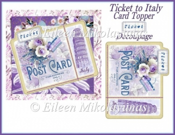 Ticket to Italy Card Topper with Decoupage