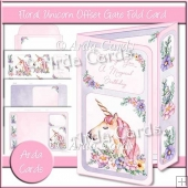 Floral Unicorn Offset Gatefold Card