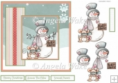 snowman and friend 7x7 card