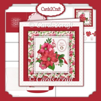Square poinsettia card