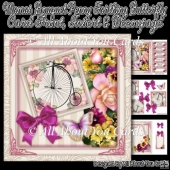 Mamas Bouquet Penny Farthing Butterfly Card Front