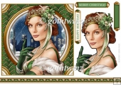 Art Deco Lady Christmas Athena 7x7 Green With Insert