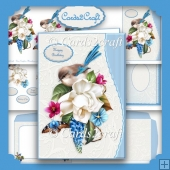 Wavy edge Blue bird and flower card set