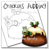 Crackers Caterpillar Christmas Pudding Digital Stamp