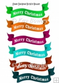 6 Merry Christmas banners green (set 3)