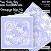 New Baby Boy with Embellishments 8inx8in Decoupage Mini Kit