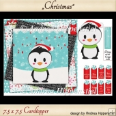 Card Topper 7.5 x 7.5 Penguin wobbler