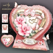 Heart with Pink Roses Card Kit