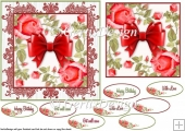 Red Roses with a bow 6 inch topper 103