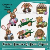 Easter Bunnies and Bear Clipart