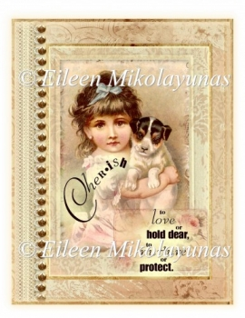 Cherished Friendship Vintage Pet Collage for Cards, Journals