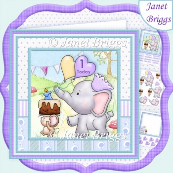 ELLIES LOVE PARADE 8x8 Birthday Decoupage Insert & Ages Kit