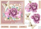 Mauve rose and butterfly 7x7