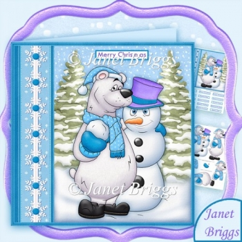 Polar Bear & Snowman Pals Christmas 7.5 Decoupage Kit