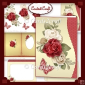Wavy edge red rose and butterfly card set