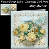 Vintage Flower Basket - Decoupage Card Front