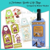 3 Christmas Bottle Gift Tags