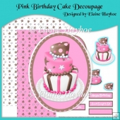 Pink Birthday Cake Decoupage