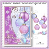 Christmas Ornaments Lilac And Blue Large Card Front
