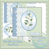 Blue Delicate Flower Card Front