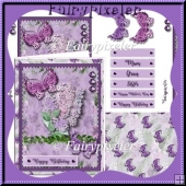 Lilac Butterfly card Kit